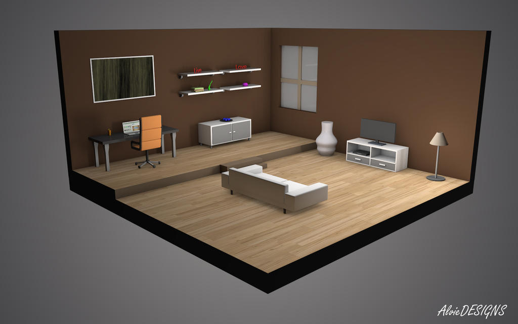 Isometric living room by alvieth on deviantart for Living room 3d view