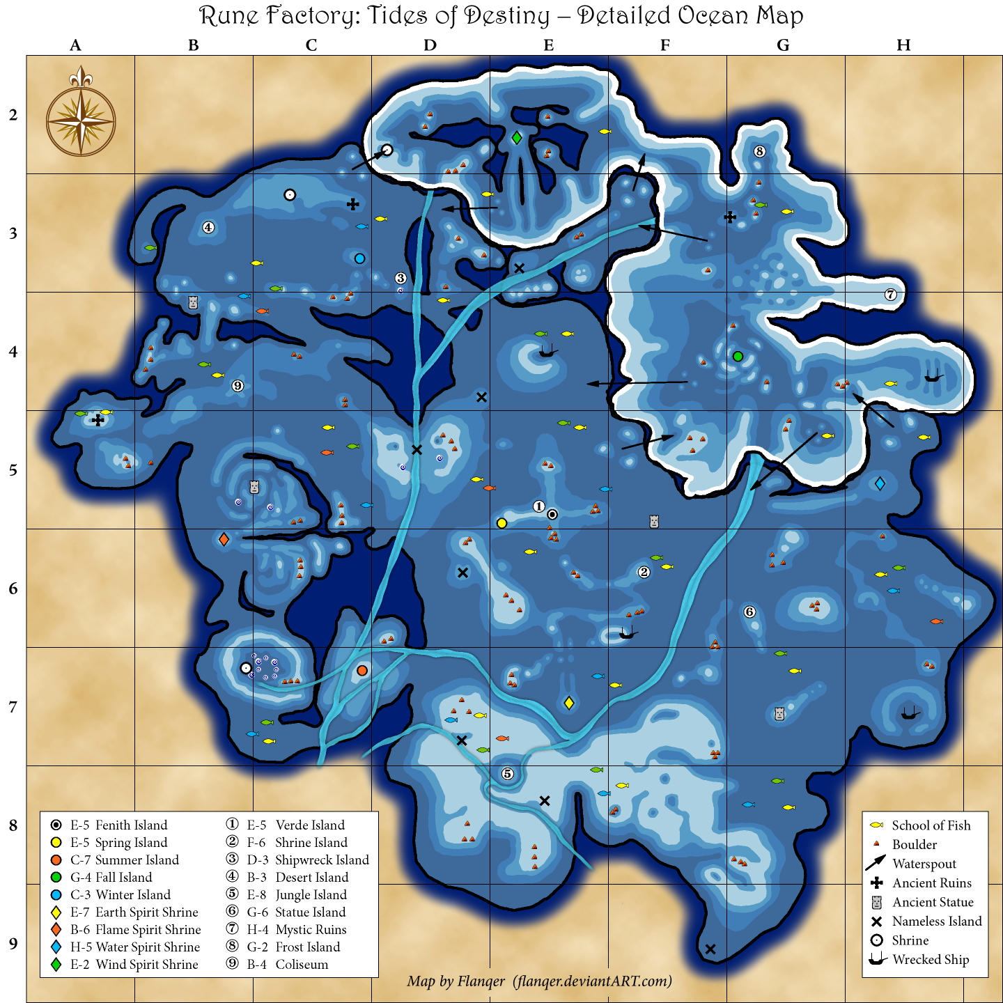 Rune Factory Tides Of Destiny Map Of Islands