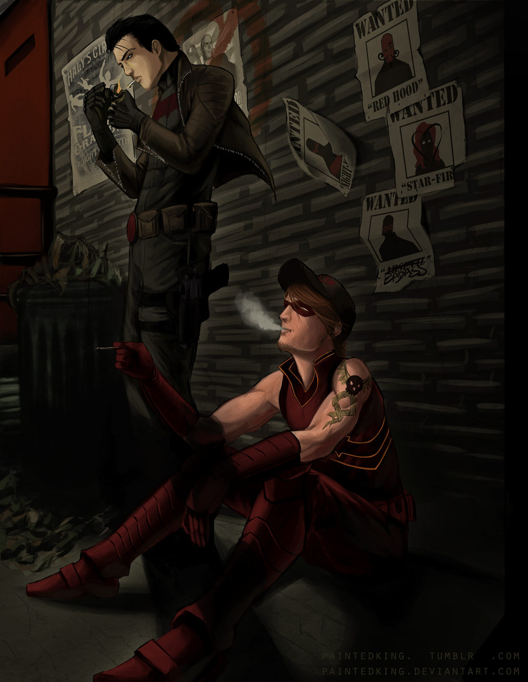 Red Hood and Arsenal : Smoke Break by PaintedKing