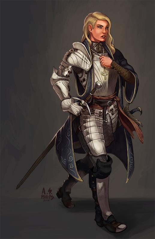 Concept: Half-Elf Soldier Cleric by asphillipsart