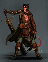 Commission: Ascher, Tiefling Fullblade Warrior by asphillipsart