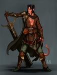 Commission: Ascher, Tiefling Fullblade Warrior