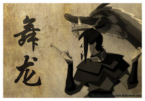 Azula Dragon Dance (Sepia) by The-Blue-Dragon-Lord