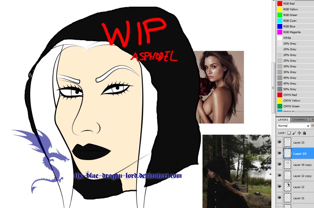 OC: Asphodel WIP by The-Blue-Dragon-Lord