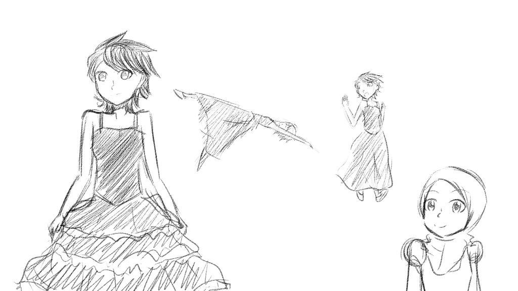 Yaya/Hanna dress sketch by HaziqI98
