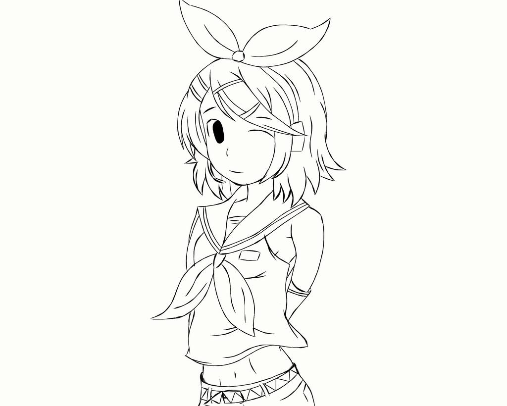 Kagamine Rin Sketch WIP by Noah-x3