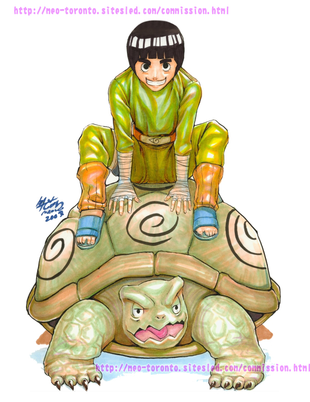 Rock Lee on turtle by meomeoow