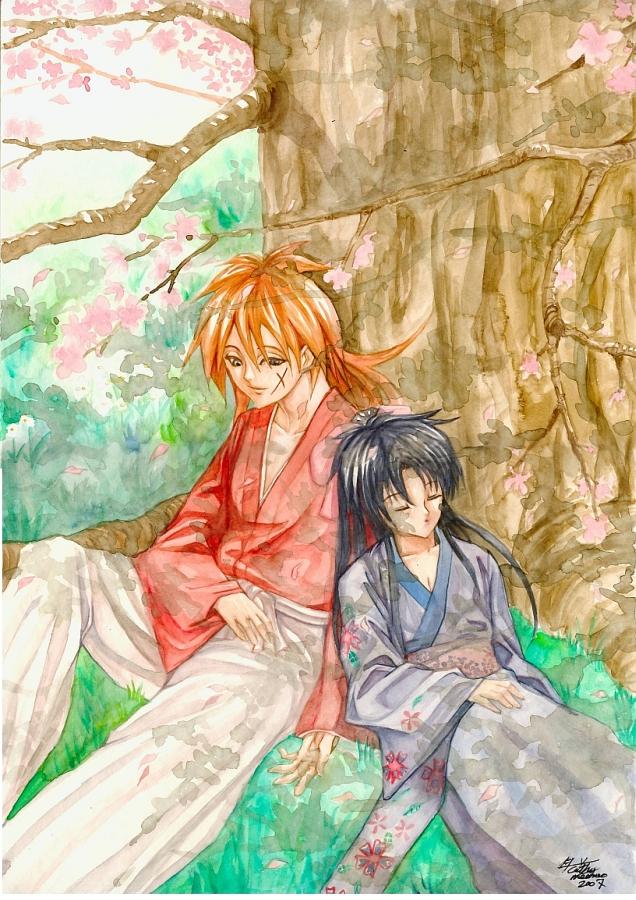 rurouni kenshin watercolor by meomeoow