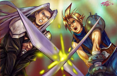 sephiroth vs cloud by meomeoow