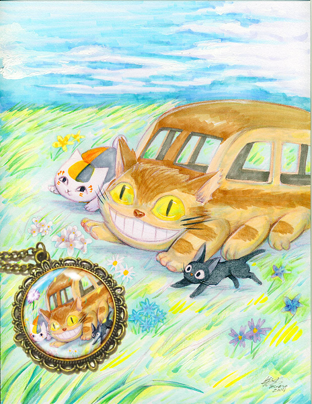 Cat bus Jiji and Nyanko sensei by meomeoow