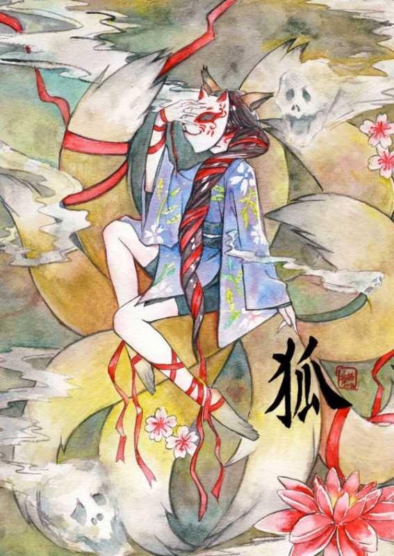 Nine tailed fox kitsune spirit in human form by meomeoow on DeviantArt
