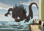 Godzilla under attack
