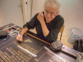 Namen kalligraferen op regentenbord by taisteng
