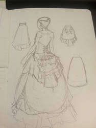 Victorian Gypsy Dress: design sketch by Iryss--reflections