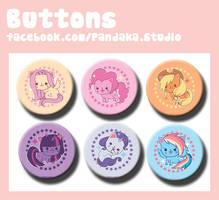 Pandaka buttons MLP meow edition