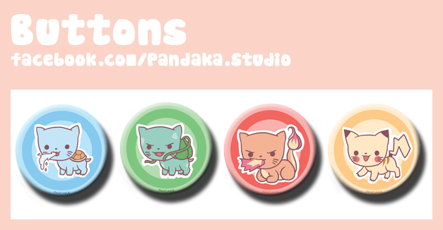 00 Pandaka buttons pkmn  meow edition by Silveril