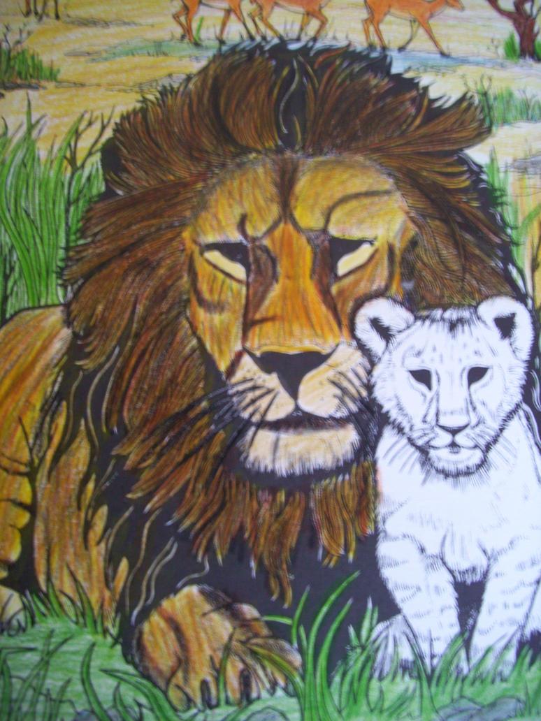 Lion I coloured in by Schmo-Jo