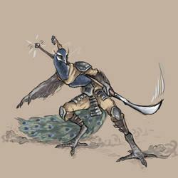 Peacock warrior sketch