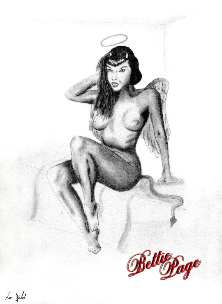 Pin Up Girl Bettie Page as Devil-Angel by bialicki