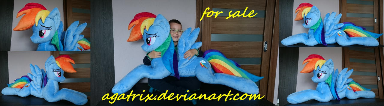 Life-size(laying down) Rainbow Dash plush sold by agatrix