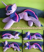 Life size (laying down) Twilight Sparkle plush by agatrix