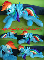 Life size (laying down) Rainbow Dash plush by agatrix