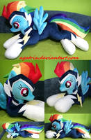 Life size (laying down) Rainbow Dash as Zap plush by agatrix