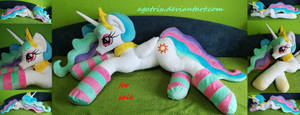 Life size (laying down) Princess Celestia plush by agatrix