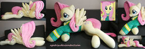 Life size (laying down) Fluttershy plush by agatrix