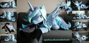 Life size(laying down) OC Aleriana Starlight plush by agatrix