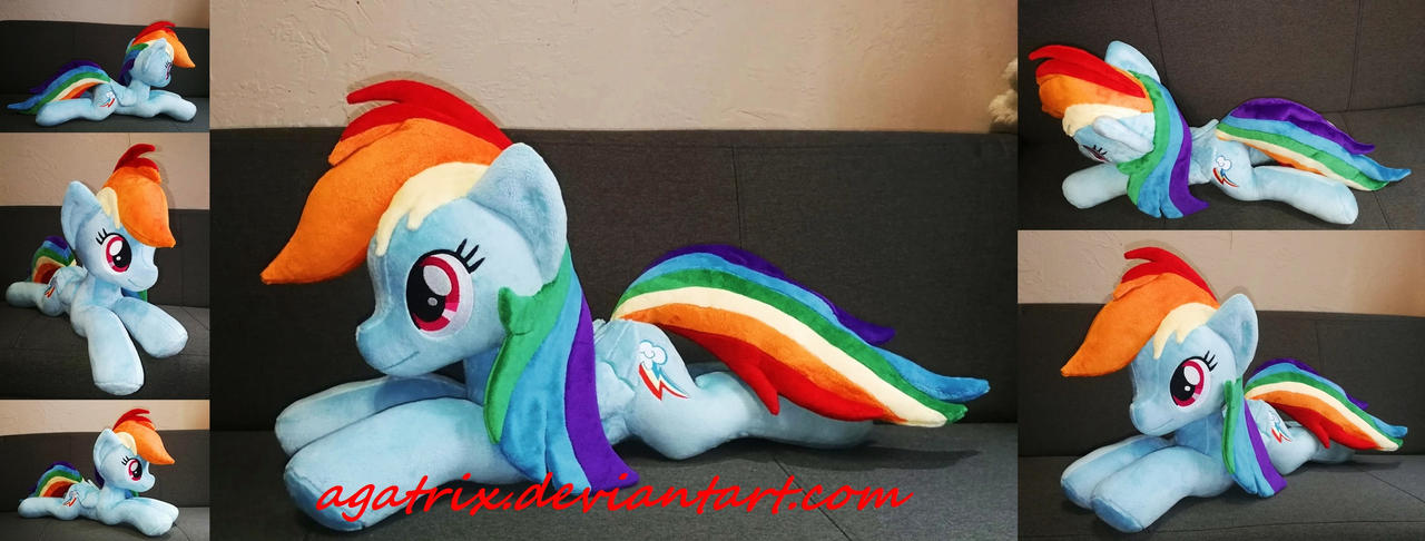 Laying down(standard size) Rainbow Dash plush by agatrix