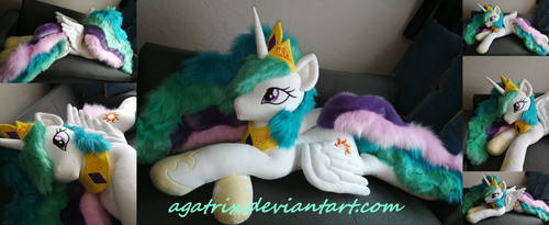 Life size (laying down) Princess Celestia plush by agatrix
