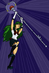 Sailor Pluto Leaping by nehdeen