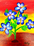 Blue Hibiscus acrylic painting