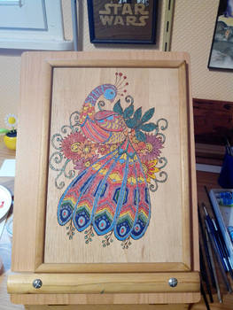 Peacock in pyrography and painting