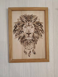 Lion in Pyrography