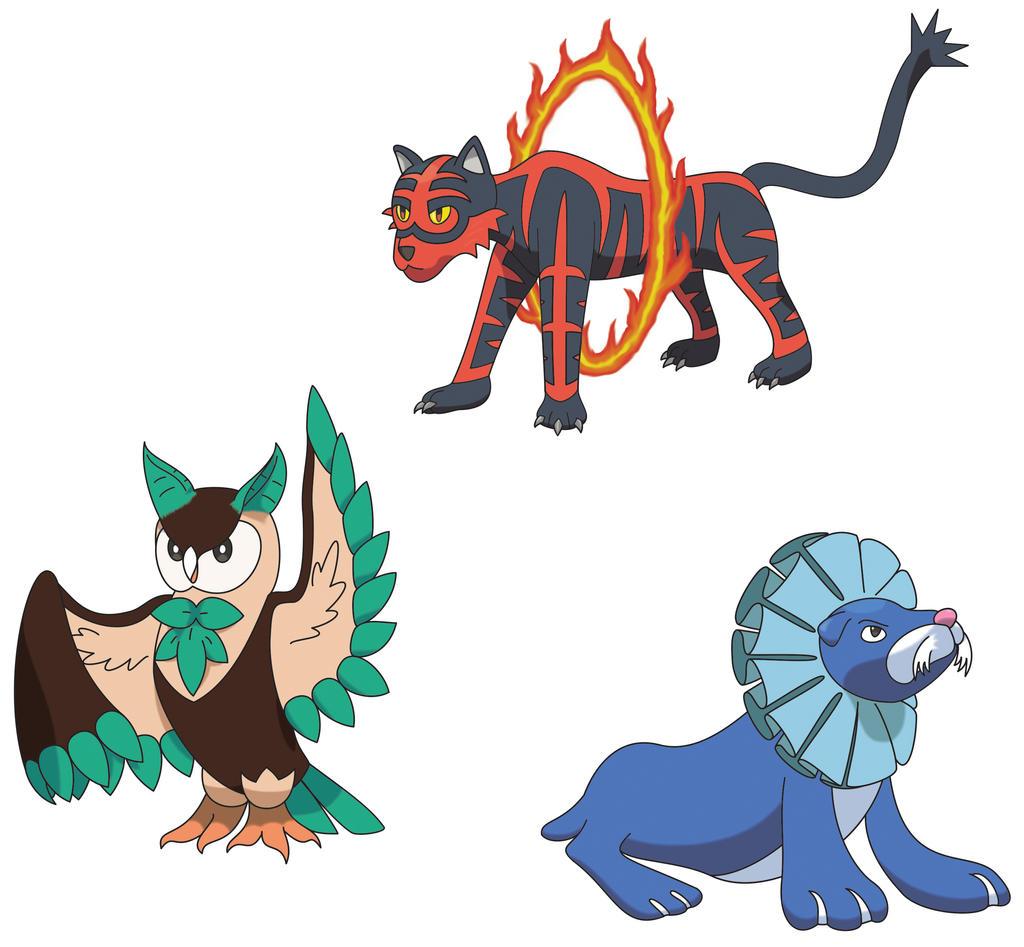pokemon sun and moon starter evos by thatdevguy on deviantart