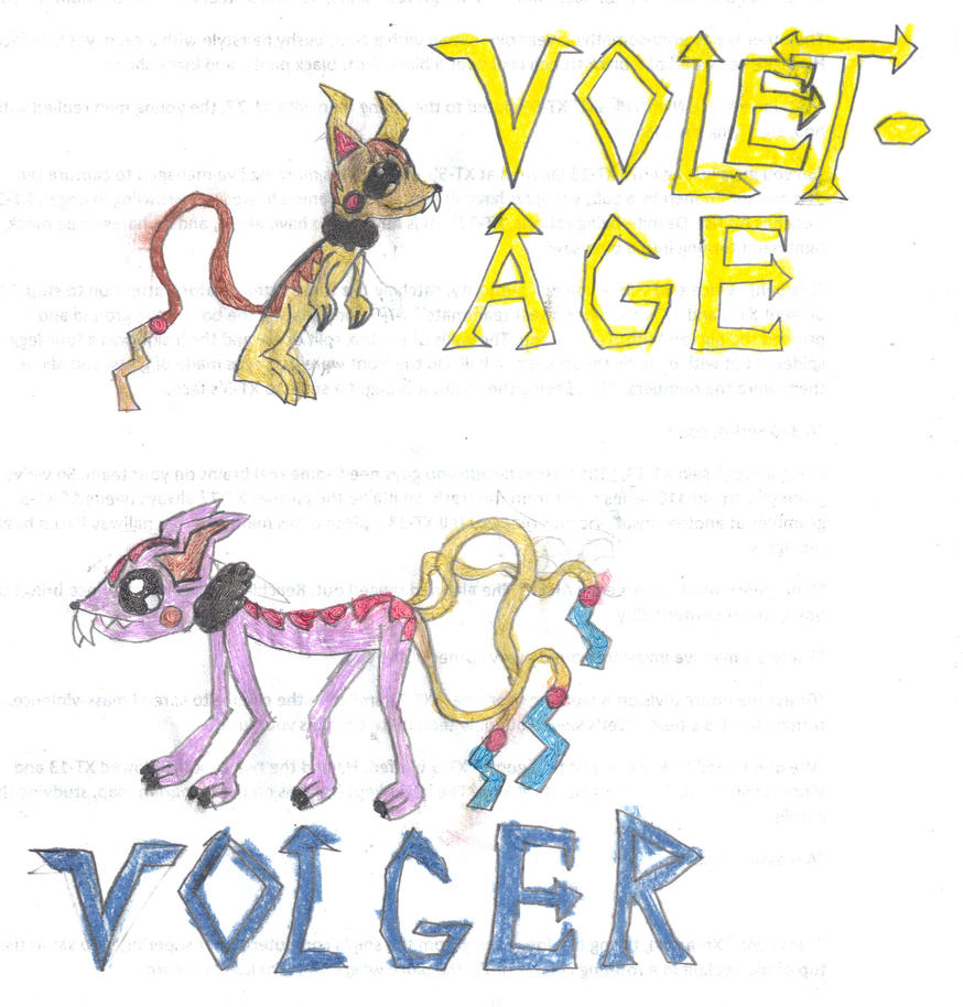 Fakemon: Voletage and Volger by Silver-Ninja