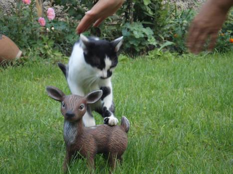 Cat with little deer statue 2