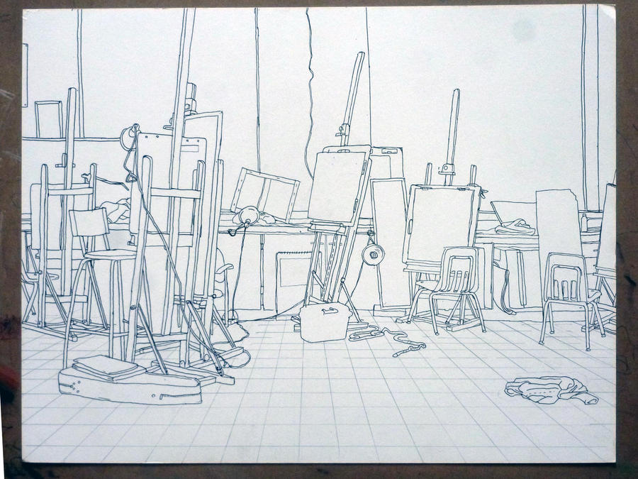 Contour Line Drawing Art : Contour drawing of the art room by malibar1 on deviantart