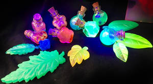 Glowing potions and leaves