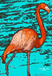 Florida pink flamingo STAMPED