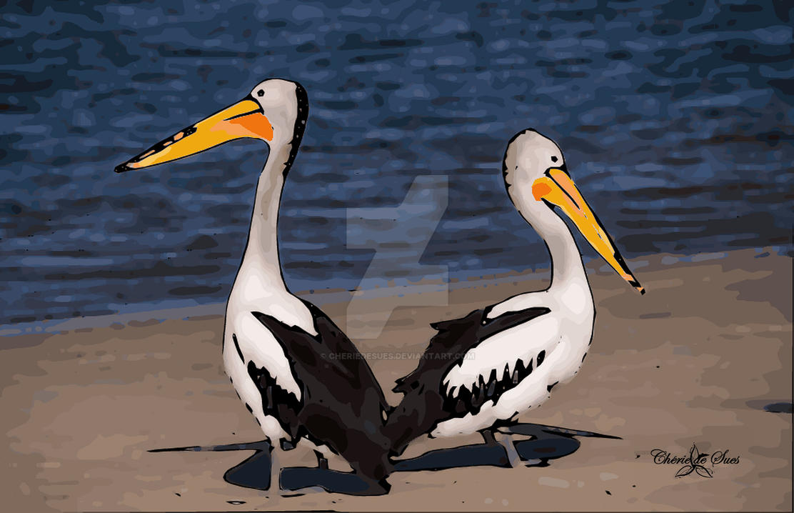 Two Beach Pelicans STAMPED by cheriedesues