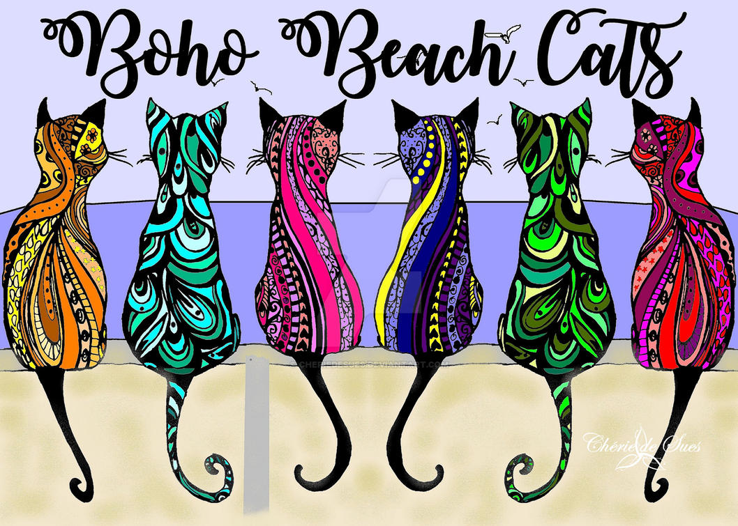 Boho Beach Cats STAMPED by cheriedesues