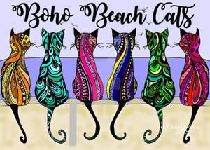 Boho Beach Cats STAMPED