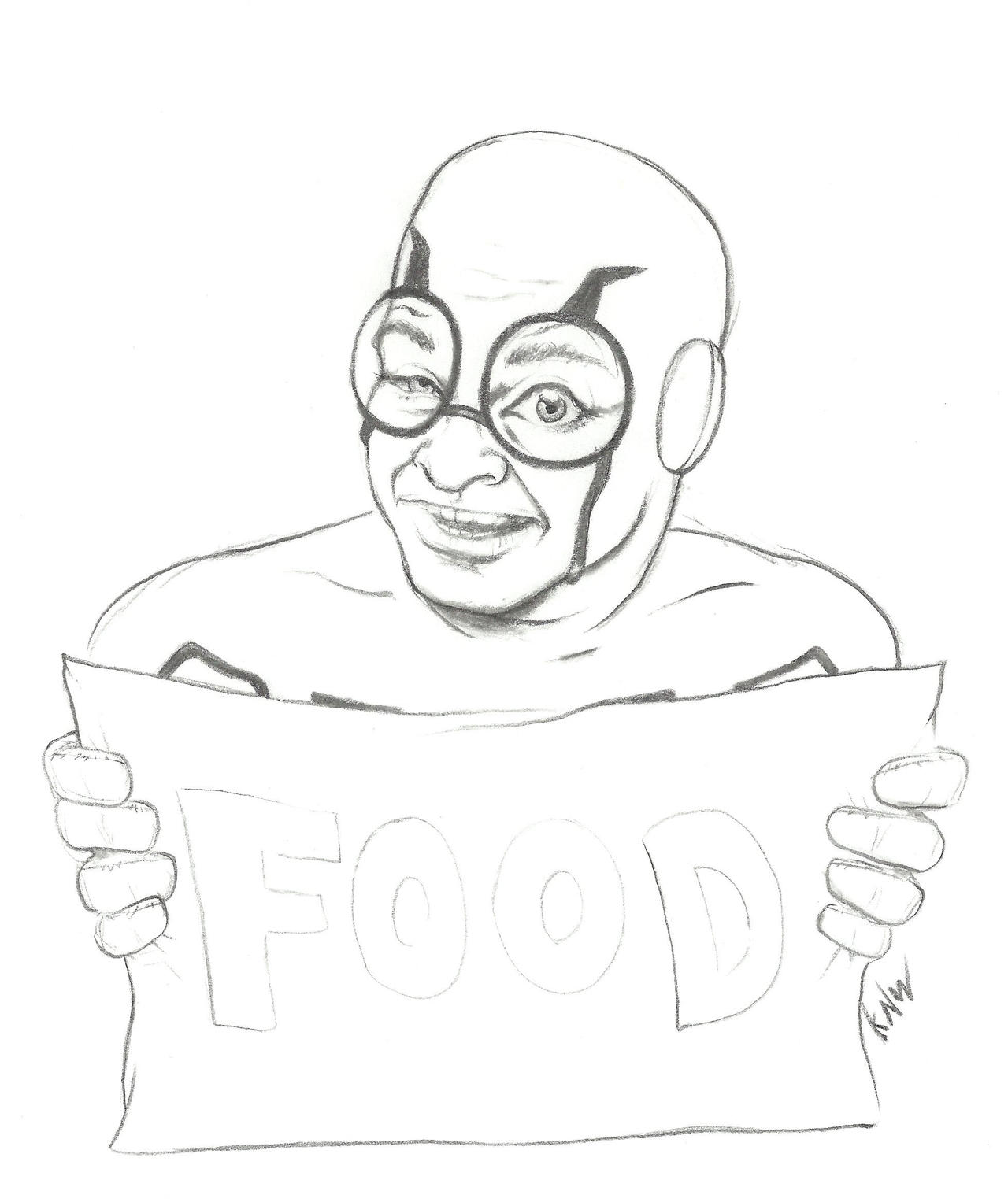 Blue Beetle With Food Sign by ayelid