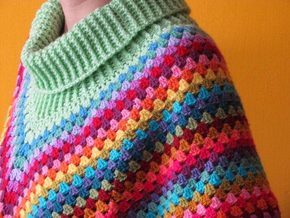 Crochet Rainbow Poncho by AllSunday10