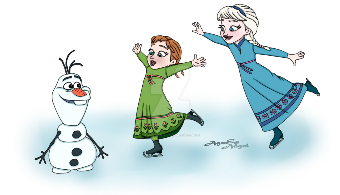 Elsa Anna And Olaf On Ice Transparent Png By Agnessangel On