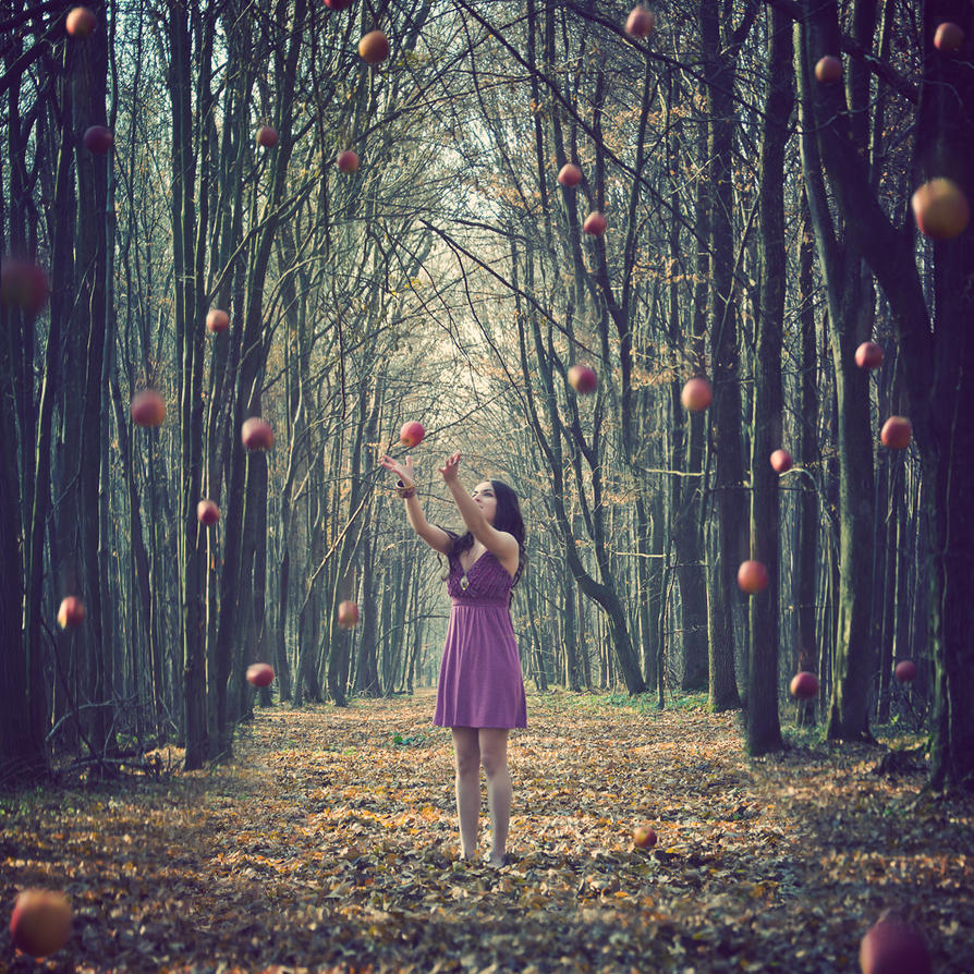 Falling Apples By LolaArtland