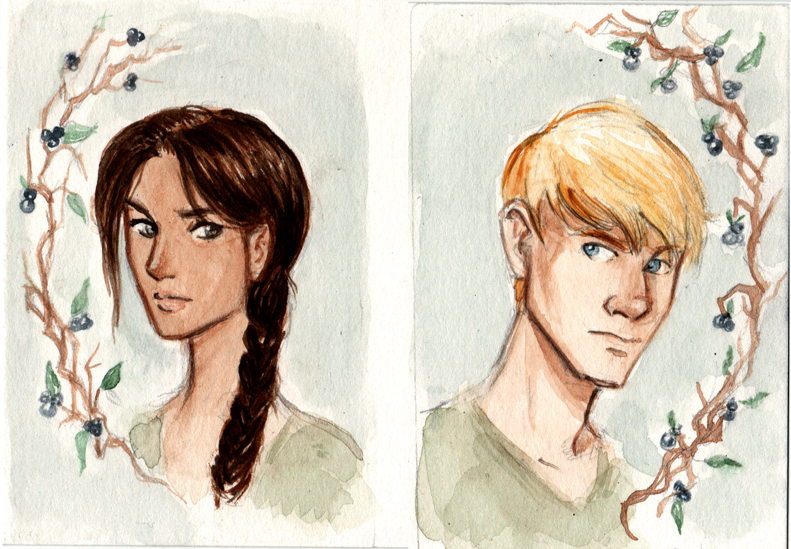 Watercolor Hunger Games Portraits by Ratgirlstudios